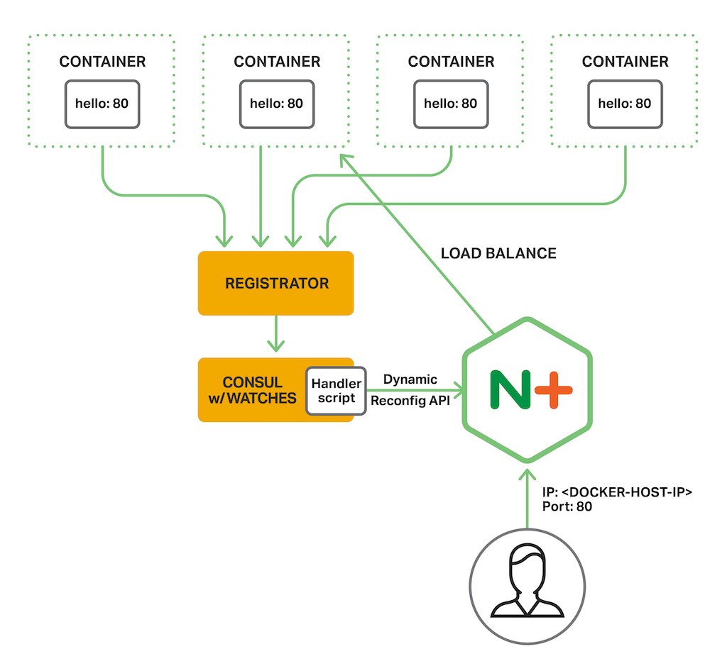 Diagram depicts the setup for the consul-api-demo from NGINX, Inc for Service Discovery. NGINX Plus load balances multiple instances of a containerized backend application, obtaining service discovery information via the Consul API and using its watch mechanism.