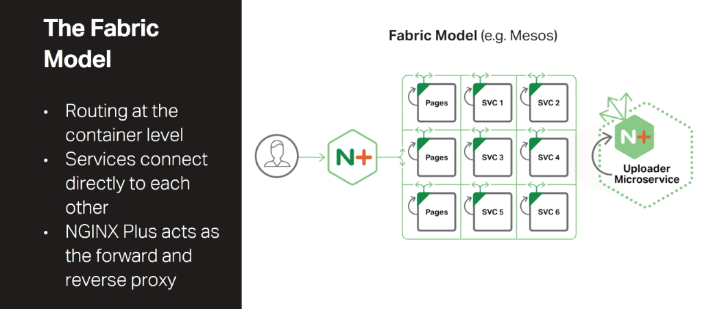 The Fabric Model of the NGINX Microservices Reference Architecture is a microservices architecture that provides routing, forward proxy, and reverse proxy at the container level and establishes persistent connections between services [presentation by Chris Stetson, NGINX Microservices Practice Lead, at nginx.conf 2016]