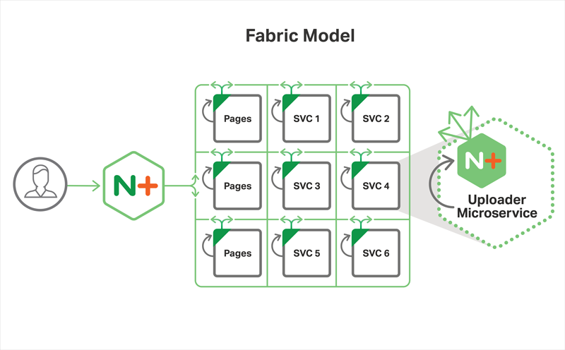 In the Fabric Model of the Microservices Reference Architecture from NGINX, NGINX Plus is deployed within each container and becomes the forward and reverse proxy for all HTTP traffic going in and out of the containers
