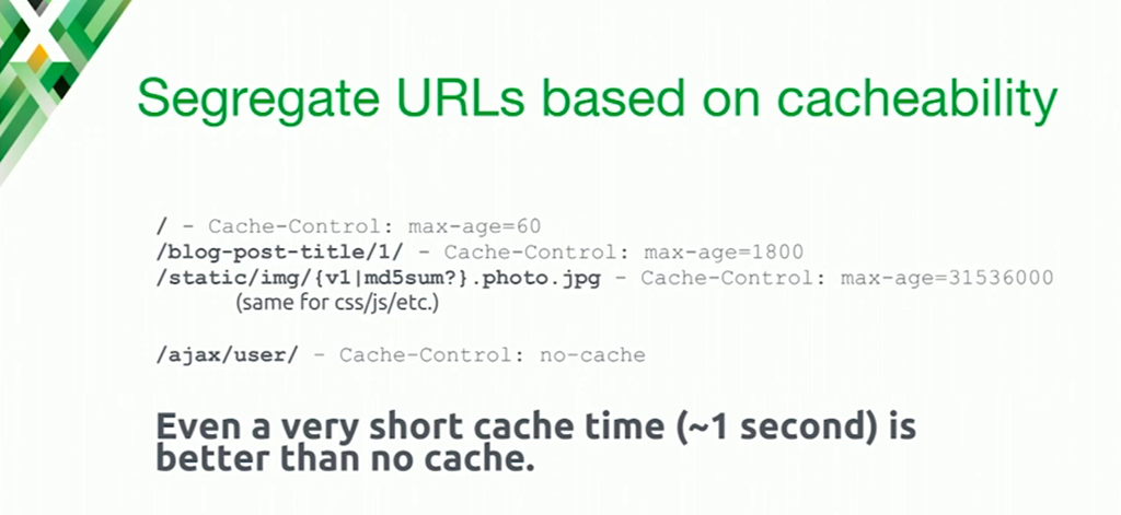 If you serve different kinds of content, it makes sense to cache them for different amounts of time and segregate them by URL [presentation at nginx.conf 2016 by Mike Howsden of PBS about NGINX as a cache server to solve the thundering herd problem]