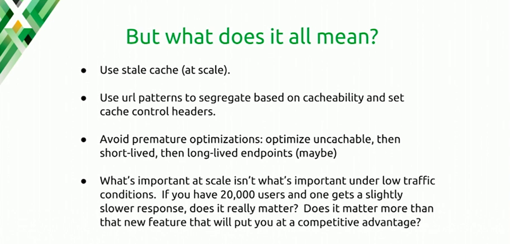 The take-away message is to use stale cache, cache for at least 1 second, and use URLs to segregate based on cacheability [presentation at nginx.conf 2016 by Mike Howsden of PBS about using the NGINX cache to solve the thundering herd problem]
