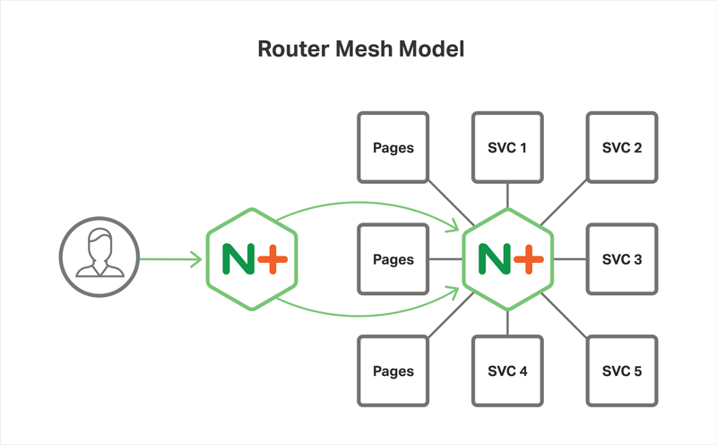 In the Router Mesh Model of the Microservices Reference Architecture from NGINX, NGINX Plus runs on each server to load balance the microservices running there, and also on frontend servers to reverse proxy and load balance traffic to the application servers