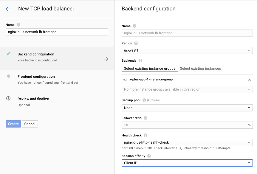 Screenshot of the interface for backend configuration of GCE network load balancer, used during deployment of NGINX Plus as the Google Cloud Platform load balancer.