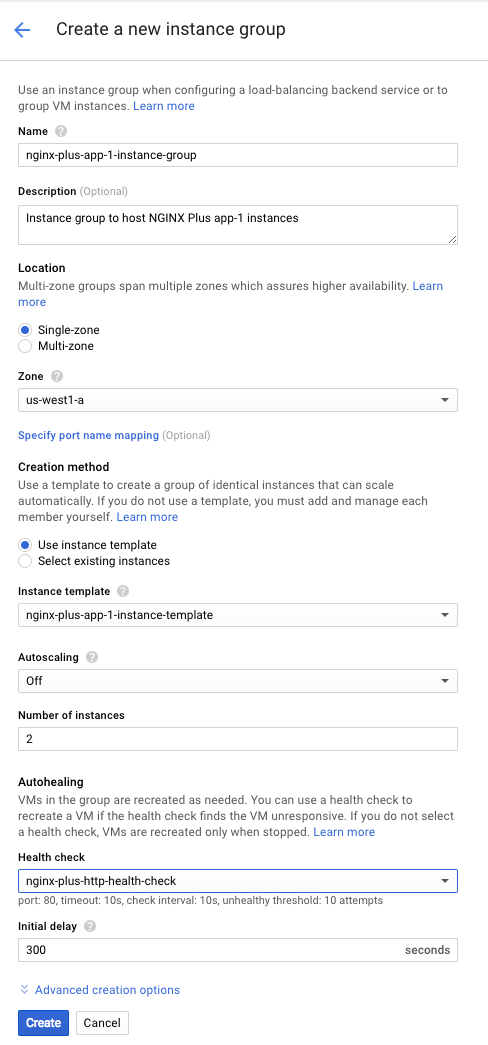 Screenshot of the interface for creating a Google Compute Engine (GCE) instance group, used during deployment of NGINX Plus as the load balancer for Google Cloud.