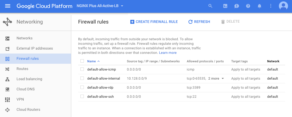 Screenshot of the Google Cloud Platform page for defining new firewall rules; when configuring NGINX Plus as the Google Cloud load balancer, we open ports 80, 443, and 8080 for it.