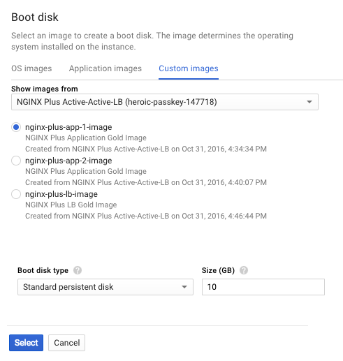 Screenshot of the 'Boot disk' page in Google Cloud Platform for selecting the source instance of a new instance template, part of deploying NGINX Plus as the Google load balancer.