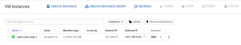 Screenshot of the summary page that verifies the creation of a new VM instance, part of deploying NGINX Plus as the load balancer for Google Cloud.