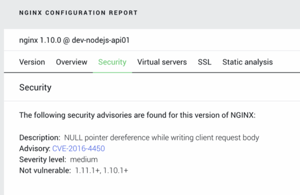 NGINX Amplify configuration report helps you manage software updates and security