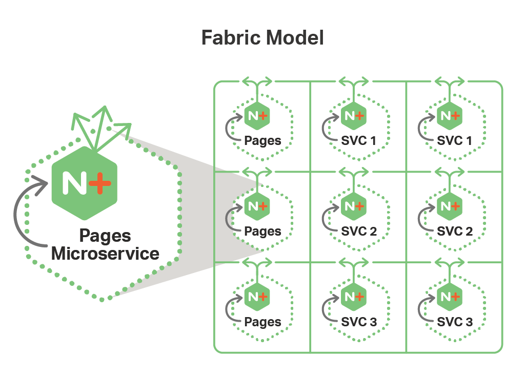 In the Fabric Model deployed on OpenShift, the microservices architecture pairs an NGINX Plus instance with each microservice.