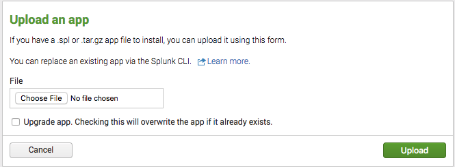 On the Splunk 'Upload an app' page, select the Add-On for NGINX and NGINX Plus to start gathering data for operational intelligence and troubleshooting NGINX