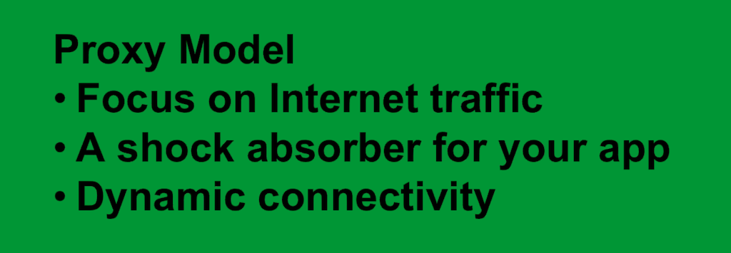 The Proxy Model focuses on traffic coming in from the Internet, acts as a shock absorber of traffic spikes, and provides dynamic connectivity.[webinar: Three Models in the NGINX Microservices Reference Architecture]