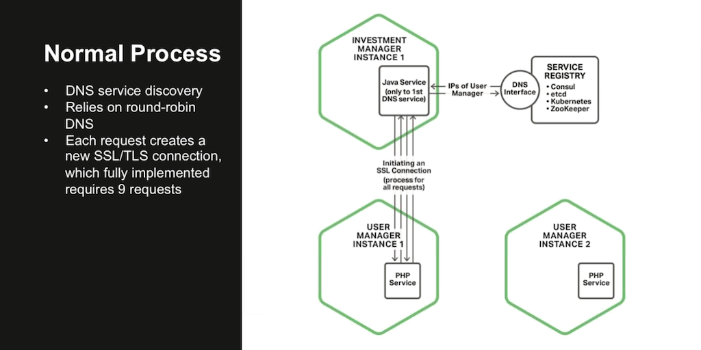 In a standard microservices architecture, a client first makes a DNS request to the service registry, then uses the addresses obtained to establish an SSL/TLS connection to the service [webinar: Three Models in the NGINX Microservices Reference Architecture]
