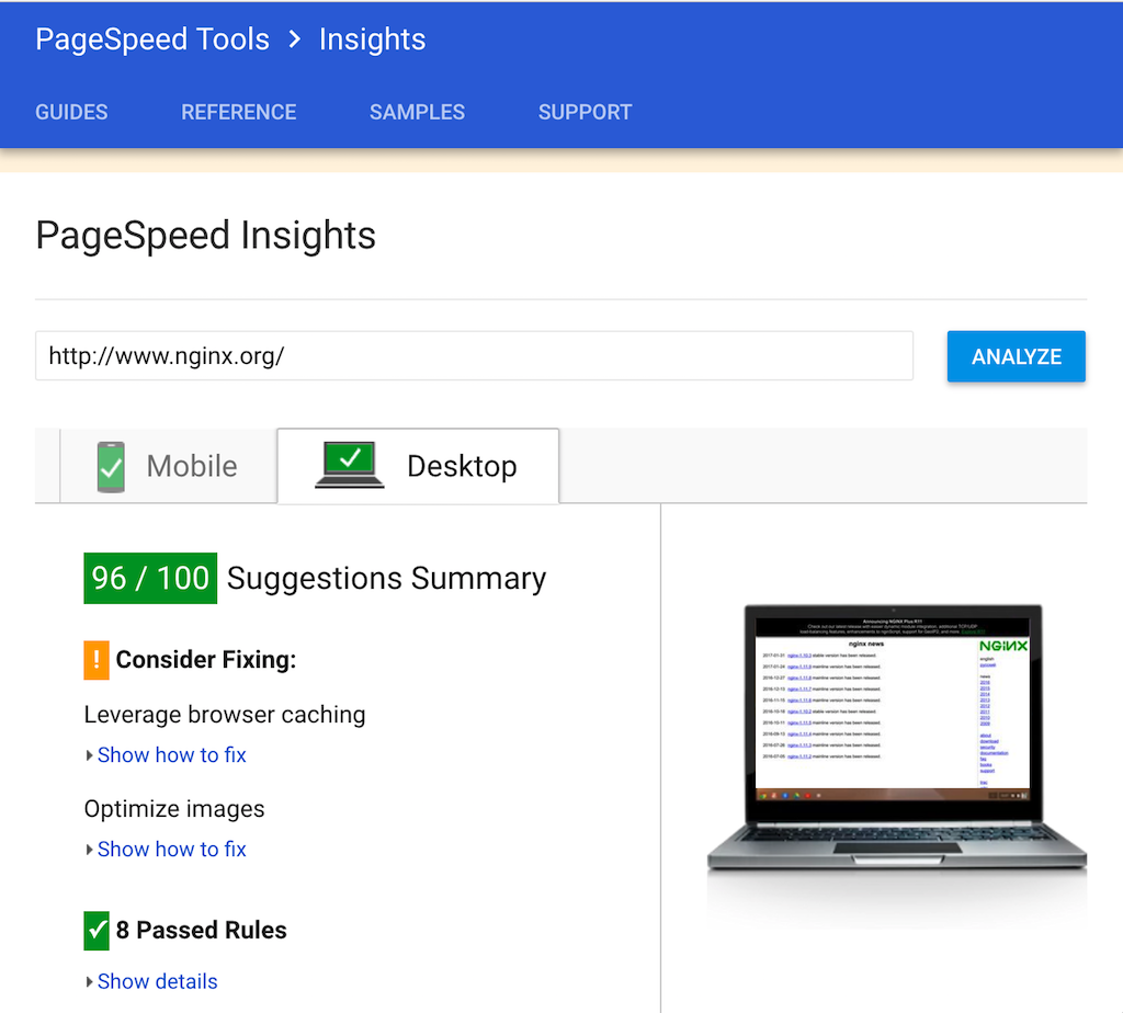 The PageSpeed Insights tool scores a website's page-loading performance and suggests ways to optimize it. When we install the dynamic module of PageSpeed, NGINX gets a high score, 96.