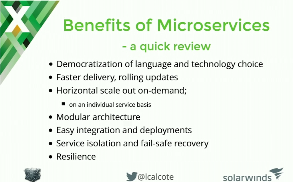 Benefits of a microservices architecture include free choice of programming language and storage technology for each microservice team, plus faster delivery, and easy of horizontal scaling